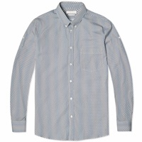 Alexander Mcqueen Skull Stripe Poplin Shirt White Navy And Black