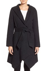 Zac Posen 'Sophia' Belted Wool Blend Hooded Asymmetrical Coat Anthracite