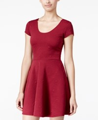 Planet Gold Juniors' Scoop Neck Fit And Flare Dress Burgundy