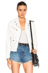 Golden Goose Chara Leather Jacket In White
