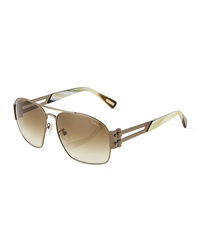 Lanvin Square Metal Aviator Sunglasses Brown Green