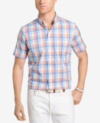 Izod Men's Advantage Stretch Plaid Shirt Sour Orange