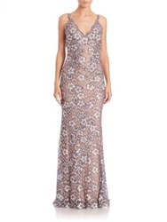 Jovani Embellished Floral Lace Gown Silver Nude