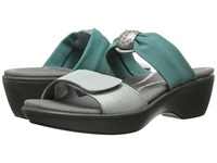 Naot Footwear Pinotage Sea Pearl Leather Teal Stretch Women's Sandals Brown