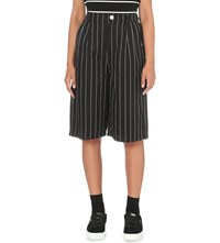 Chocoolate Pinstripe Wide High Rise Cotton Shorts Black Pinstripe