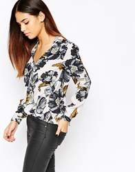 Warehouse Printed Long Sleeve Wrap Front Top Multi