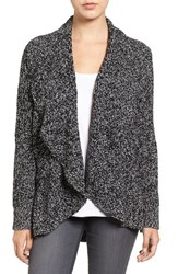 Chaus Women's Cable Stitch Drape Front Cardigan