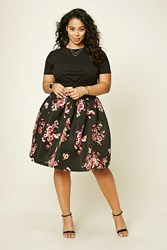 Forever 21 Plus Size Pleated Floral Skirt Black Burgundy