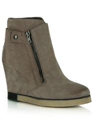 Daniel Adorable Two Zip Wedge Ankle Boots Brown