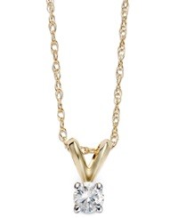 Macy's Round Cut Diamond Pendant Necklace In 10K Gold 1 10 Ct. T.W.