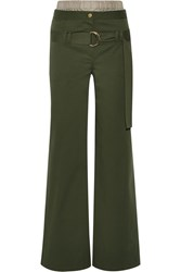 Rosie Assoulin I See London Stretch Cotton Twill Wide Leg Pants Army Green