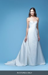 Women's Carolina Herrera 'Jacqueline' Lace Trim Strapless Mikado Column Gown With Detachable Bow Train In Stores Only