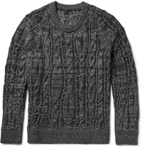 Lanvin Cable Knit Stretch Wool Blend Sweater Gray