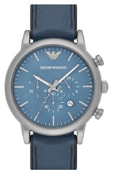 Men's Emporio Armani Chronograph Leather Strap Watch 46Mm