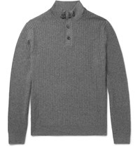 Ermenegildo Zegna Suede Trimmed Cashmere And Silk Blend Half Zip Sweater Gray