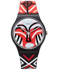 Swatch Unisex Swiss Mask Parade Multicolor Silicone Strap Watch 41Mm Suob127