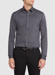 Calvin Klein Charcoal Micro Patterns Textured Cotton Shirt Grey