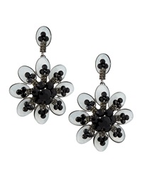 Greenbeads By Emily And Ashley Large Flower Earrings Black Gray