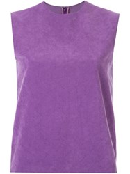 G.V.G.V. Faux Suede Boxy Top Pink And Purple