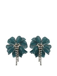 Lanvin Floral Embellished Earrings Dark Green