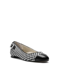 Michael Kors Dion Houndstooth Hair Calf Ballet Flat Black White