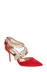 Badgley Mischka Women's 'Glamour' Crystal Embellished Pointy Toe Pump Ruby Red Satin