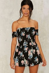 Leaf It Be Floral Romper Black