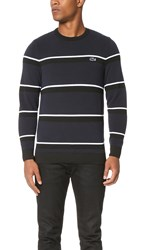 Lacoste Pique Crew Neck Pullover Black Navy Blue White