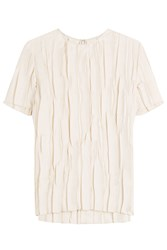 Nina Ricci Crinkled Silk Top Beige