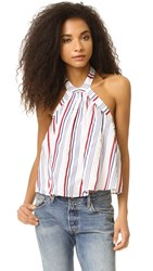Tularosa Cory Halter Top Blue Red Stripe
