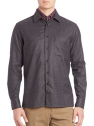 Luciano Barbera Flannel Cashmere And Cotton Shirt Grey