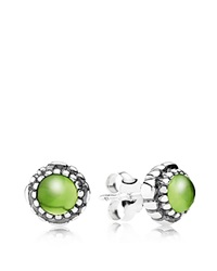 Pandora Design Pandora Earrings Sterling Silver And Peridot Birthday Blooms August Stud Silver Peridot