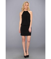Jessica Simpson Ity Blouson With Necklace Halter Black Women's Dress