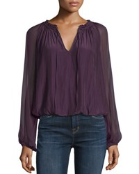 Ramy Brook Ginger Long Sleeve Peasant Top Merlot