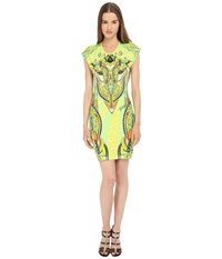 Just Cavalli Fitted Printed Jersey Short Sleeve Dress Leo Deco Print Lux Yellow Women's Dress