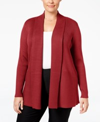 Jm Collection Plus Size Ribbed Open Front Cardigan Only At Macy's New Red Amore