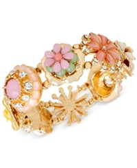 Macy's M. Haskell Gold Tone Multi Colored Flower And Stone Stretch Bracelet