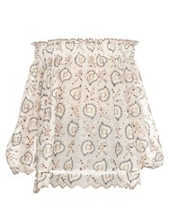 Zimmermann Pavilion Off The Shoulder Cotton Voile Top Cream Multi