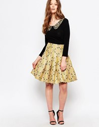 Traffic People Betty Skirt In Jacquard Gold