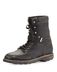 Maison Martin Margiela Lace Up Leather Army Boot Black Maison Margiela