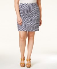 Charter Club Plus Size Printed Skort Only At Macy's Intrepid Blue Combo