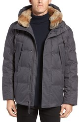 Marc New York Men's By Andrew Darien Genuine Rabbit Fur Trim Down Feather Jacket