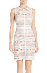 Chelsea 28 Women's Chelsea28 Lace Sheath Dress White Nude Combo