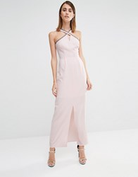 Warehouse Embellished Halter Neck Maxi Dress Pink