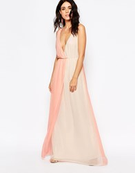 Oh My Love Maxi Dress In Two Tone Pastels Rose Cream Pink
