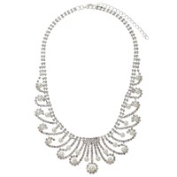 John Lewis Faux Pearl And Cubic Zirconia Statement Bib Necklace Silver