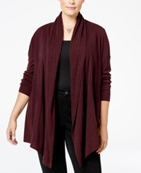 Karen Scott Cable Knit Pocket Cardigan Only At Macy's Merlot