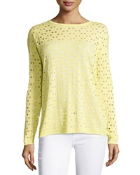 Lafayette 148 New York Eyelet Long Sleeve Sweater Light Sunshine