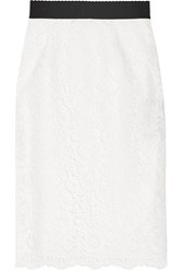 Dolce And Gabbana Corded Lace Pencil Skirt Ivory