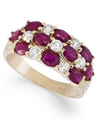 Macy's 14K Gold Ring Ruby 2 1 2 Ct. T.W. And Diamond 1 2 Ct. T.W. 3 Row Band